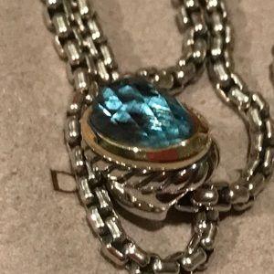 Authentic David Yurman Necklace w/Blue Topaz Acorn